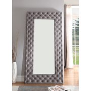 Emerald Home Lacey Silver Gray Floor Mirror with Velvet Like Fabric And Button Tufting
