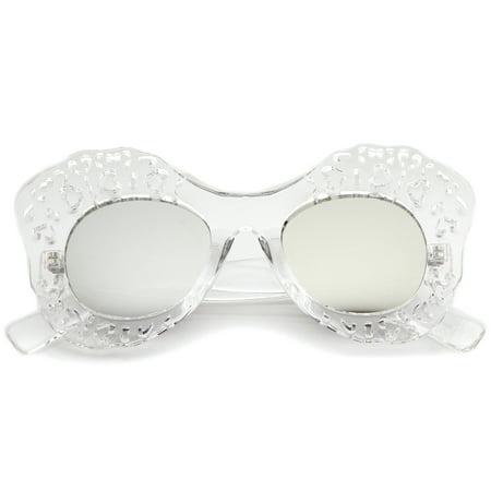 37896625ab2 sunglassLA - sunglassLA - Transparent Cutout Frame Colored Mirror Lens Oversize  Butterfly Sunglasses - 49mm - Walmart.com