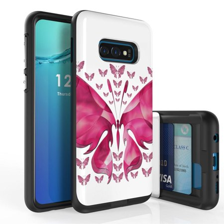Beyond Cell Duo Shield Series Compatible with Samsung Galaxy S10e, Slim Hybrid Shock Absorption Case with 2 Card Wallet Slide-Out Compartment and Atom Cloth - Pink Butterfly