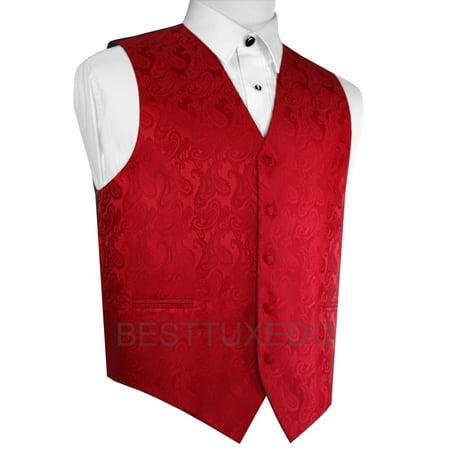 Italian Design, Men's Formal Tuxedo Vest for Prom, Wedding, Cruise , in Red Paisley