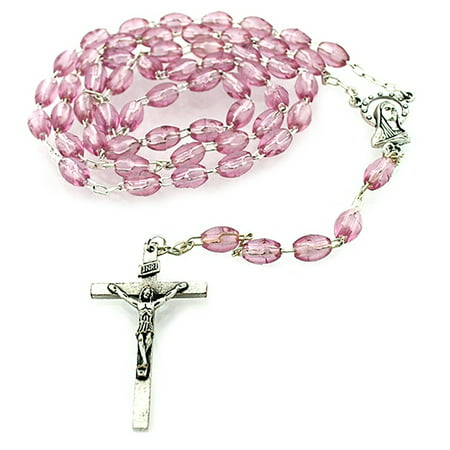 Simple Catholic Rosary with Colorful Beads (Pink)