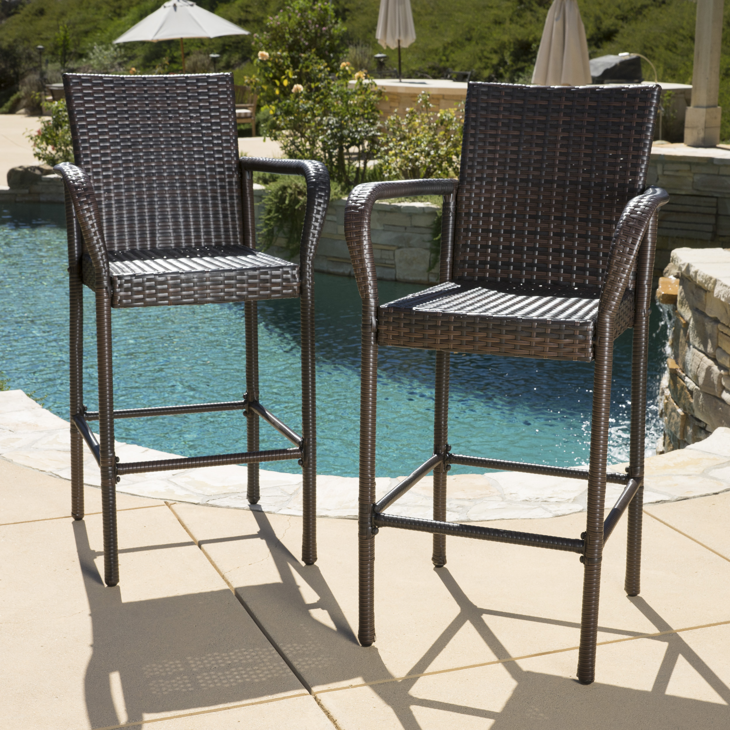 Noble House Brown Outdoor Wicker Bar Stool Set (Set Of 2)