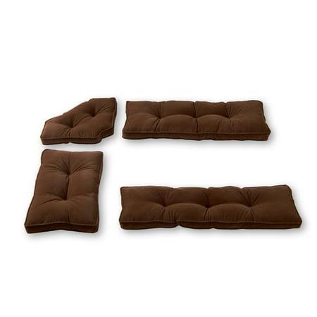 - Hyatt 4-Piece Solid Microfiber Kitchen Nook Cushion Set