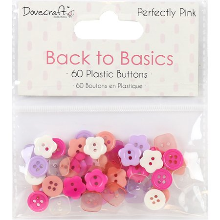 - Dovecraft Back To Basics Plastic Buttons 60/Pkg-Perfectly Pink