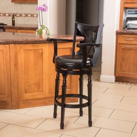 Christopher Knight Home Eclipse 31-inch Black Bonded Leather Armed Swivel Barstool by ()