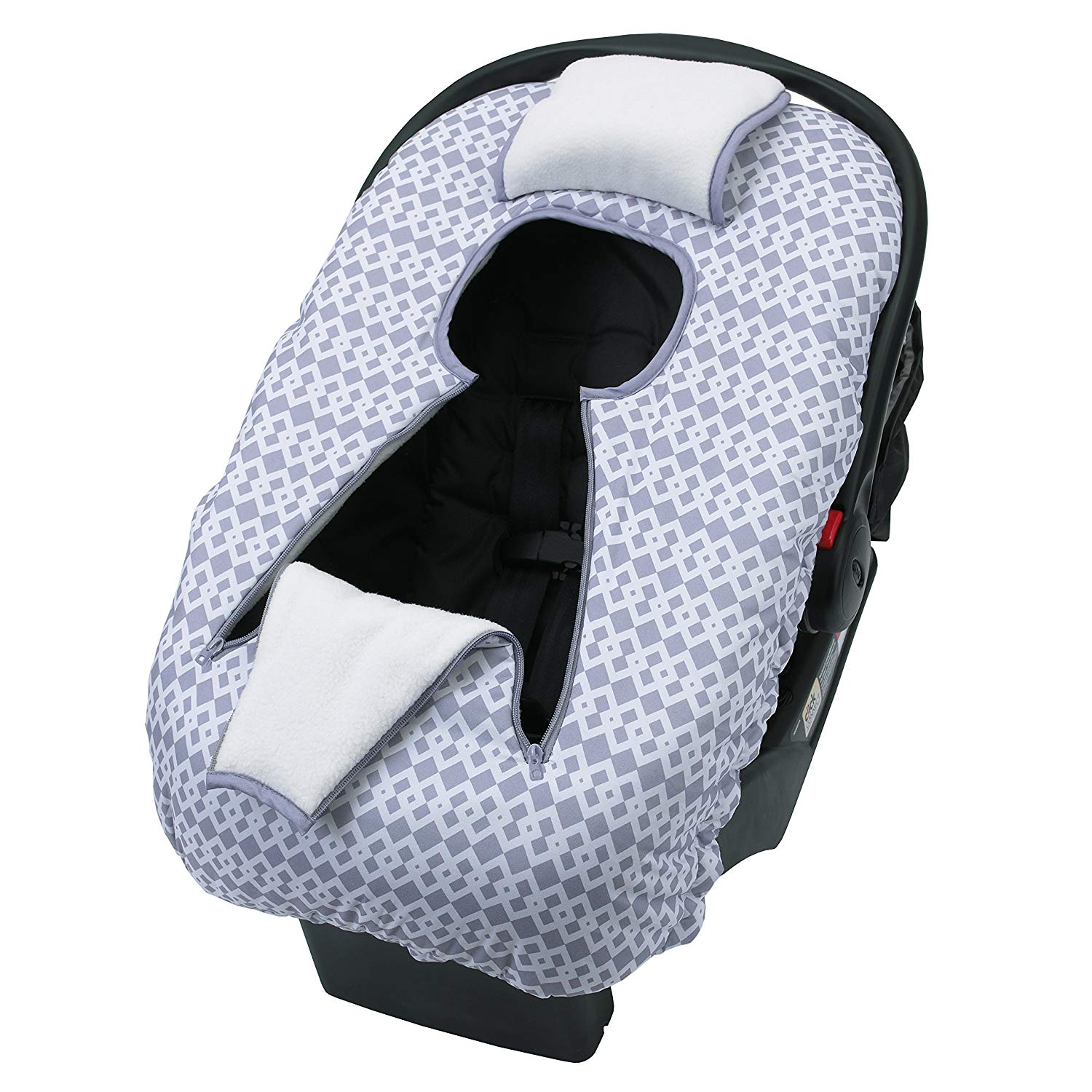 NoJo On The Go Baby Car Seat Cover-Up, Gray/White