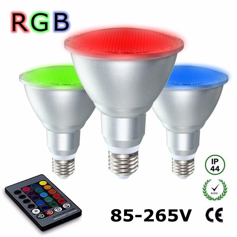 Led Spotlight,E27 PAR30 10W RGB Dimmable Light Bulb 16 Color Changing with IR Remote Control for Home, Living Room, Party Decoration Waterproof Floodlight