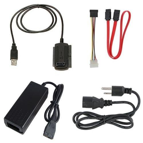 USB 2.0 to 2.5 3.5 IDE SATA HDD Hard Drive Converter Adapter Cable + AC Power Adapter