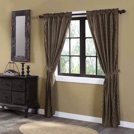 Raven Black Primitive Curtains Cody Black Check Rod Pocket Cotton Tie Back(s) Check Panel Pair ()