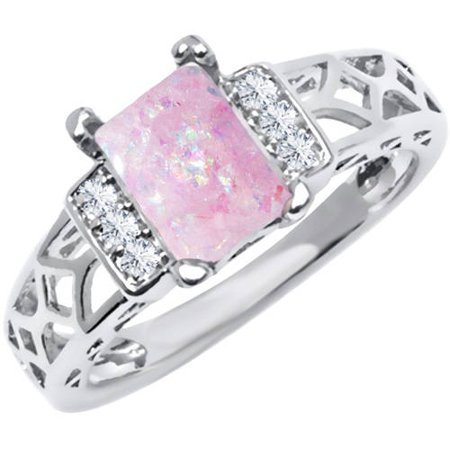 Pink Multi CZ 18kt White Gold-Tone Baguette-Cut Ring