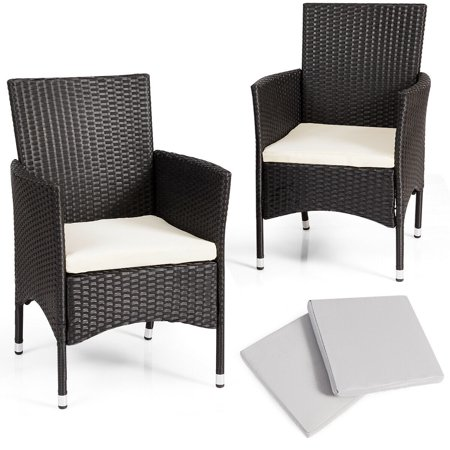 Gymax 2PC Patio Rattan Wicker Dining Chairs Set Black With 2 Set Cushion Covers ()