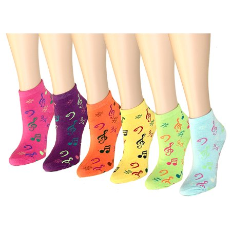 12 Pairs Women's Socks Assorted Colors Size 9-11 Music