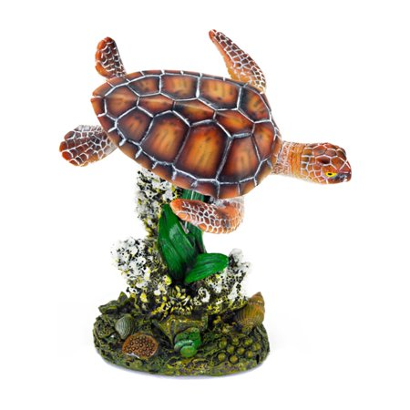 Penn Plax Sea Turtle and Coral 3.5 in. Aquarium Ornament