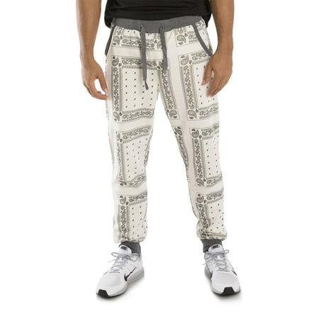 Vibes Gold Label Men Fleece Ecru Bandanna Printed Jogger Pant Drawstring Male Adult