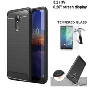 "Phone Case For Verizon Wireless Nokia 3V 16GB Prepaid Smartphone, Nokia 3.2 Case (6.26"") Brush Textured Slim-Flex Gel Cover (Brush Flex Gel Black +Tempered Glass)"