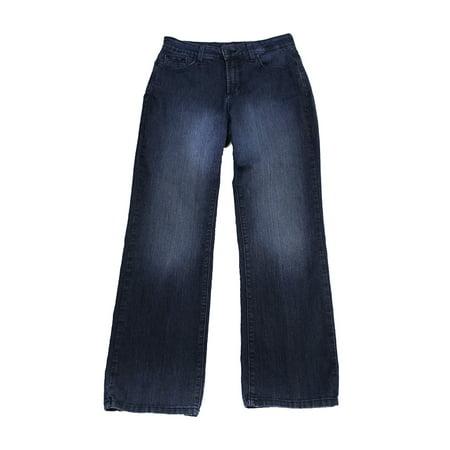 - Nydj Petite  Blue Embellished Back Pockets Straight Jeans 10P