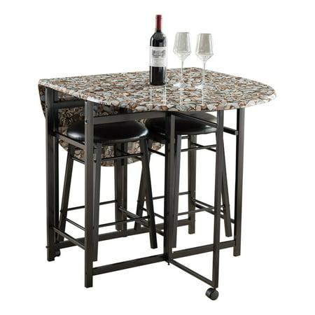 K Amp B Furniture 3 Piece Faux Marble Dinette Set Walmart Com