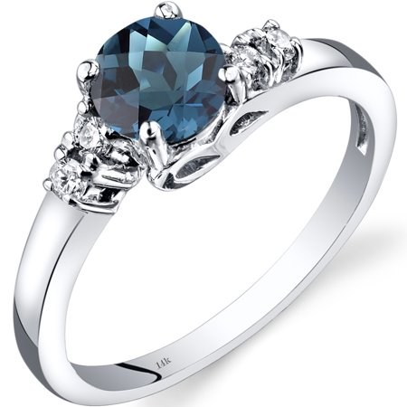 Halloween London 1 November (1 Carat T.G.W. Round-Cut London Blue Topaz and Diamond Accent 14kt White Gold Ring Size)