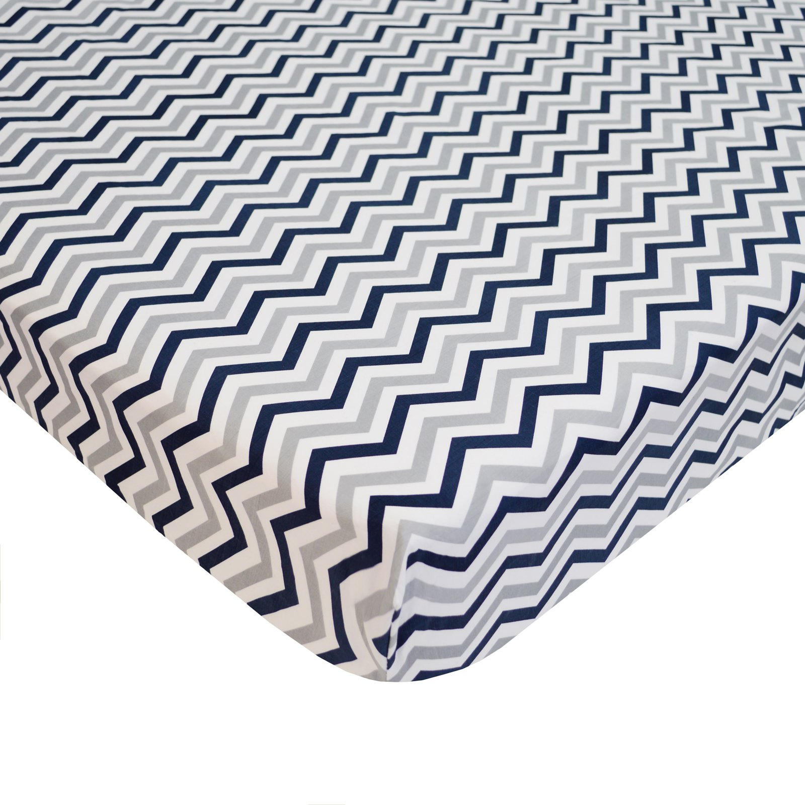 American Baby Company 100% Cotton Percale Fitted Crib Sheet, Navy and Grey Zigzag