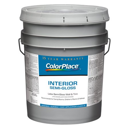 Colorplace interior semi gloss accent base paint 5 gal for Exterior paint gallon