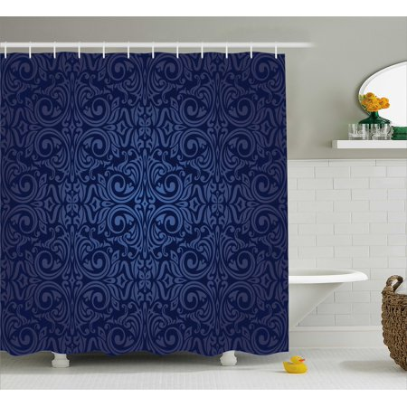 Indigo Shower Curtain Victorian Vintage Ancient Royal Times Inspired Floral Leaves Swirls Image Artprint