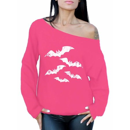 Awkward Styles Scary Bats Off Shoulder Sweatshirt Women's Halloween Off Shoulder Sweater Day of the Dead Oversized Sweatshirt Spooky Gifts for Her Dia de los Muertos Baggy Sweater Holiday Gifts (Pink And Her Daughter Halloween)