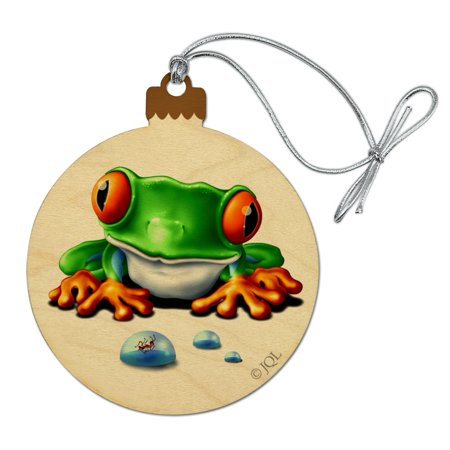 Rainforest Red Eyed Tree Frog and Ant Wood Christmas Tree Holiday Ornament Red Tree Frog