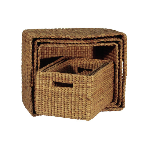 Ibolili Rectangle Basket with Hole Handle (Set of 6)