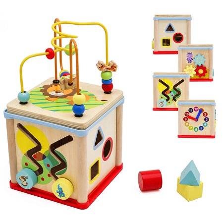 Pidoko Kids Wooden Activity Cube for Toddlers - Fun Learning Toy for Boys and - Learning Toys