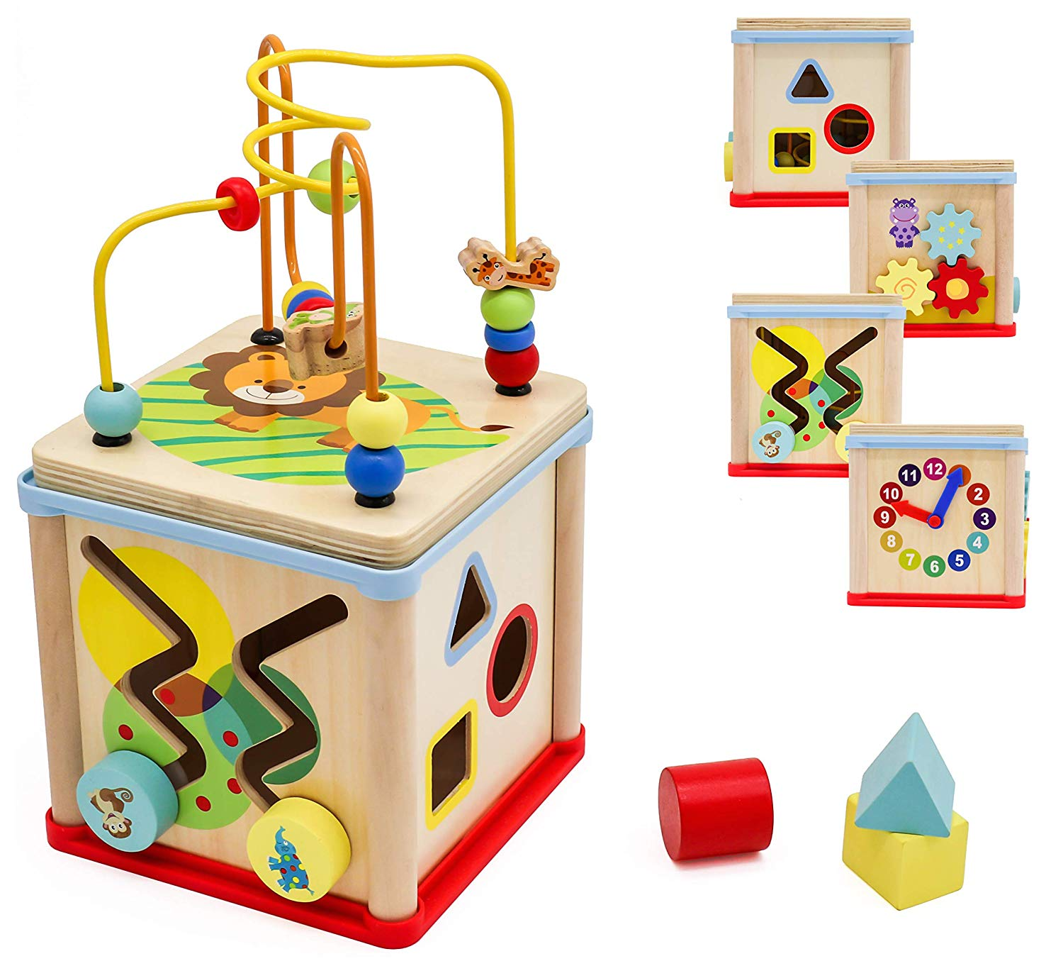 Pidoko Kids Wooden Activity Cube for Toddlers - Fun Learning Toy for Boys and Girls