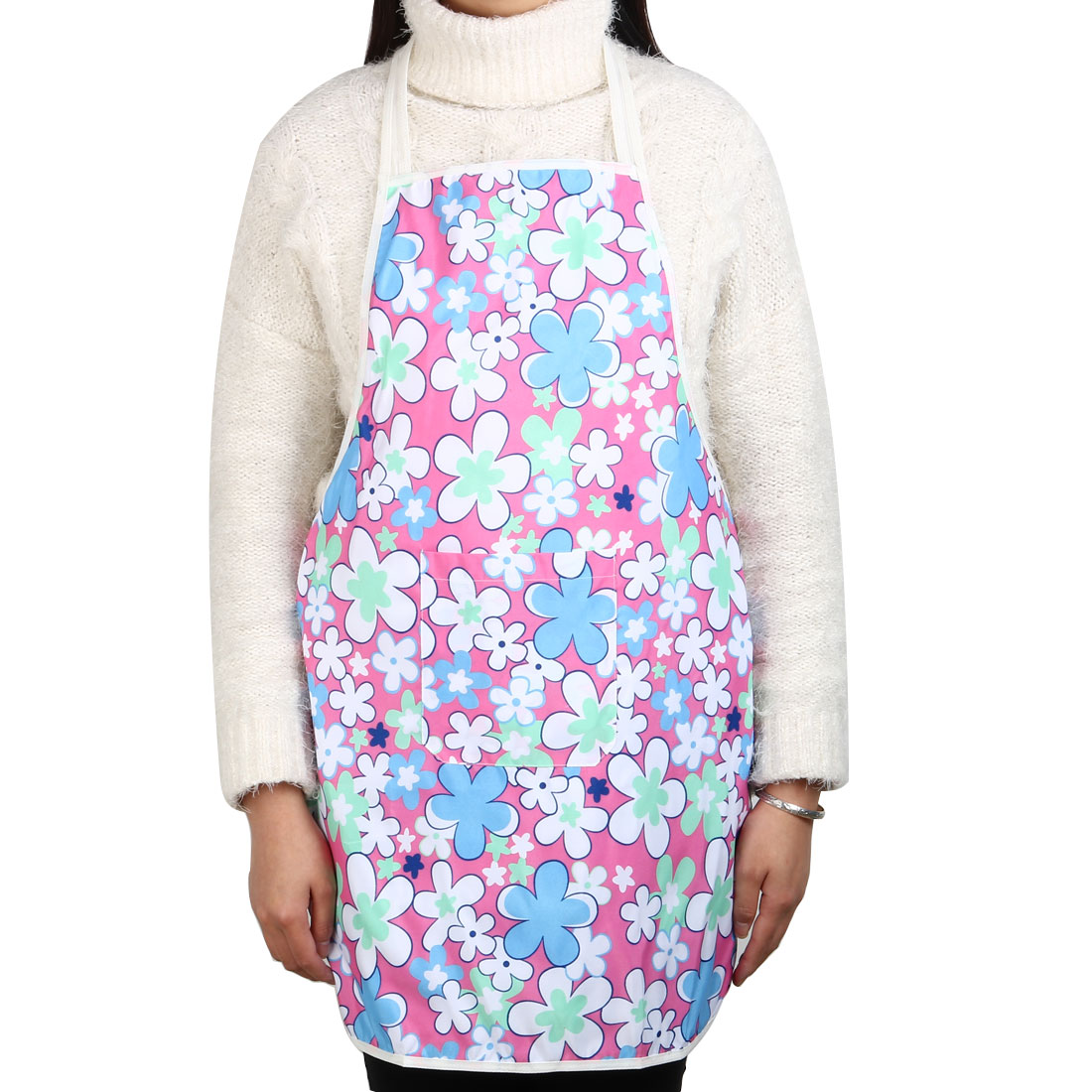 Household Kitchen Polyester Flower Pattern Anti-wear Cooking Baking Apron