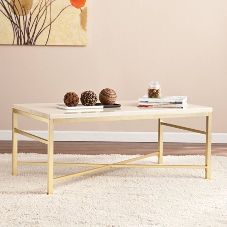Theodora Faux Stone Cocktail Table, Cream Travertine by Ember Interiors ()