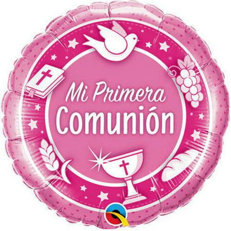 First Communion Pink Balloon Mi Primera Spanish Globo 18