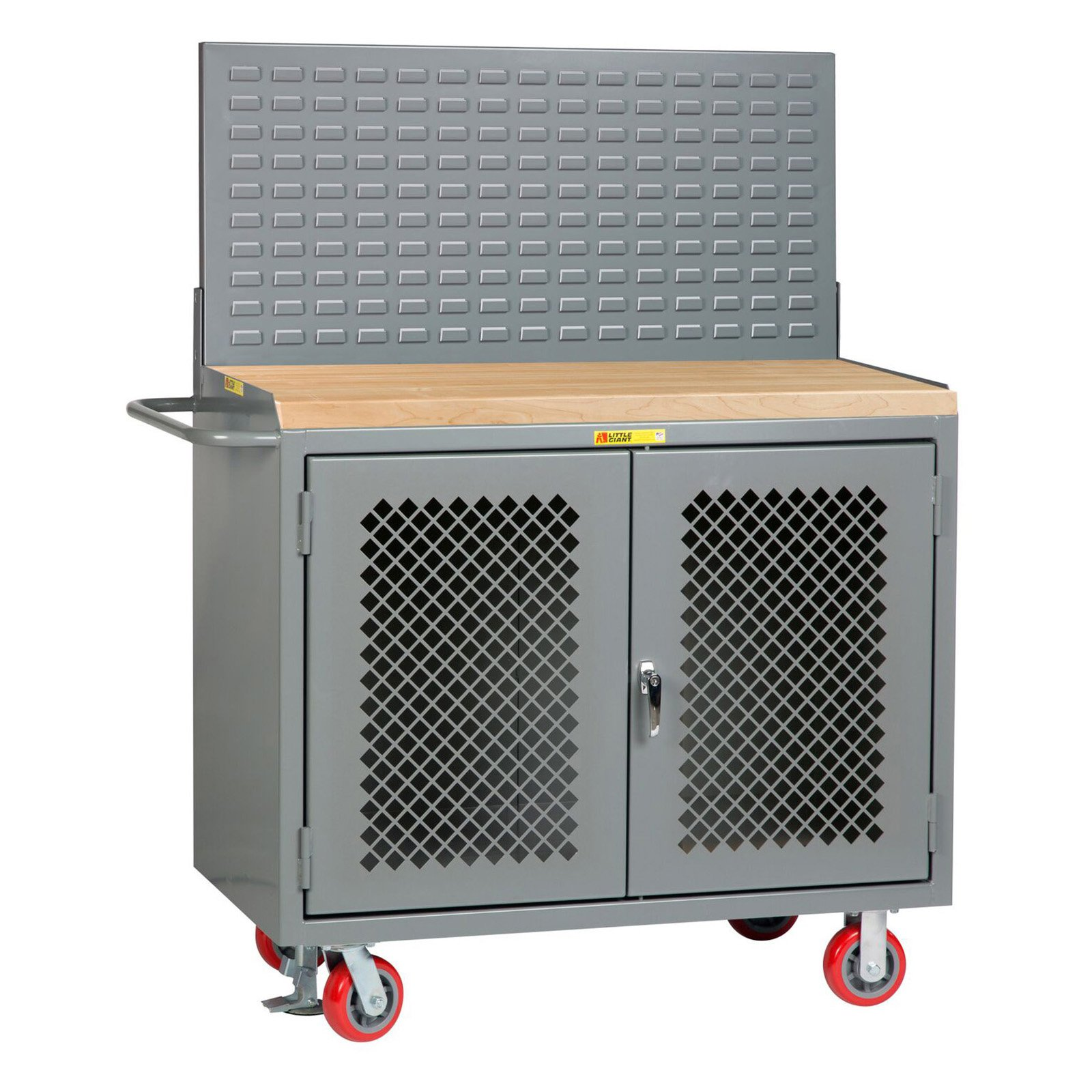 Little Giant 48 in. Mobile Bench Cabinets with Clearview Doors and Louvered Panel