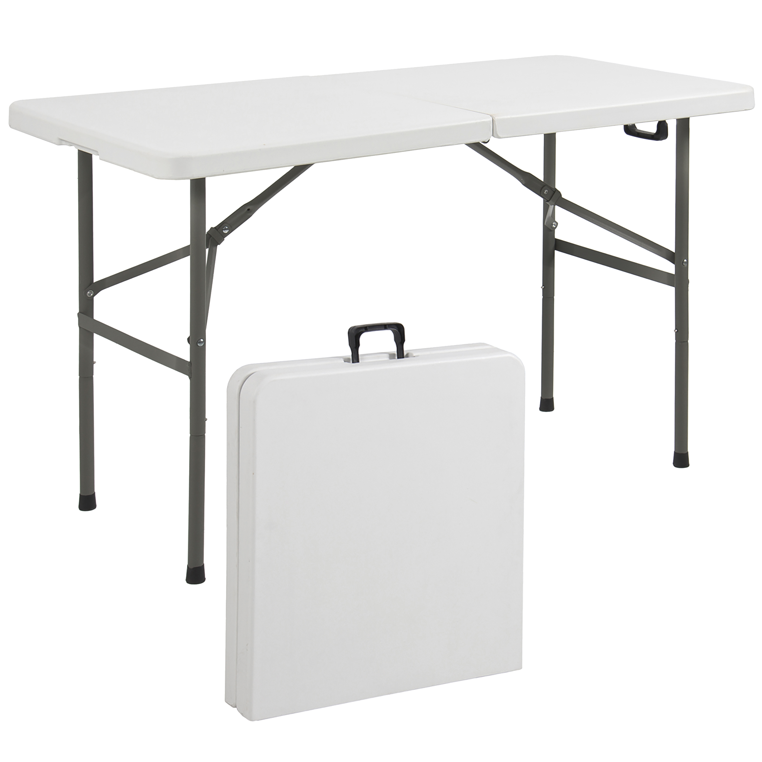 Best Choice Products 4ft Indoor Outdoor Portable Folding Plastic Dining Table For Backyard Picnic Party Camp W Handle Lock Non Slip Rubber Feet