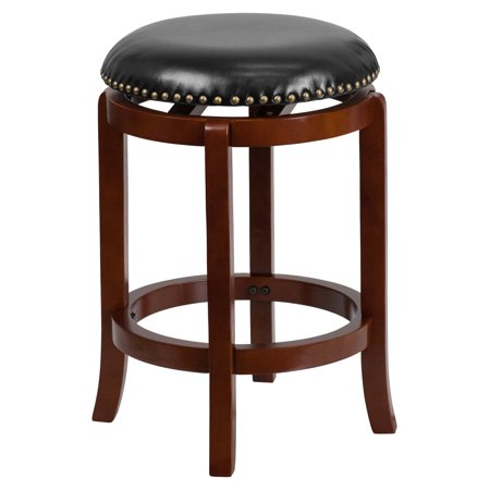 Flash Furniture 24 Backless Light Cherry Wood Counter Height Stool With Black Leather Swivel Seat