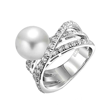 Geometric Criss Cross Pave CZ Solitaire White Simulated Pearl Fashion Statement Ring For Women Silver Plated Brass