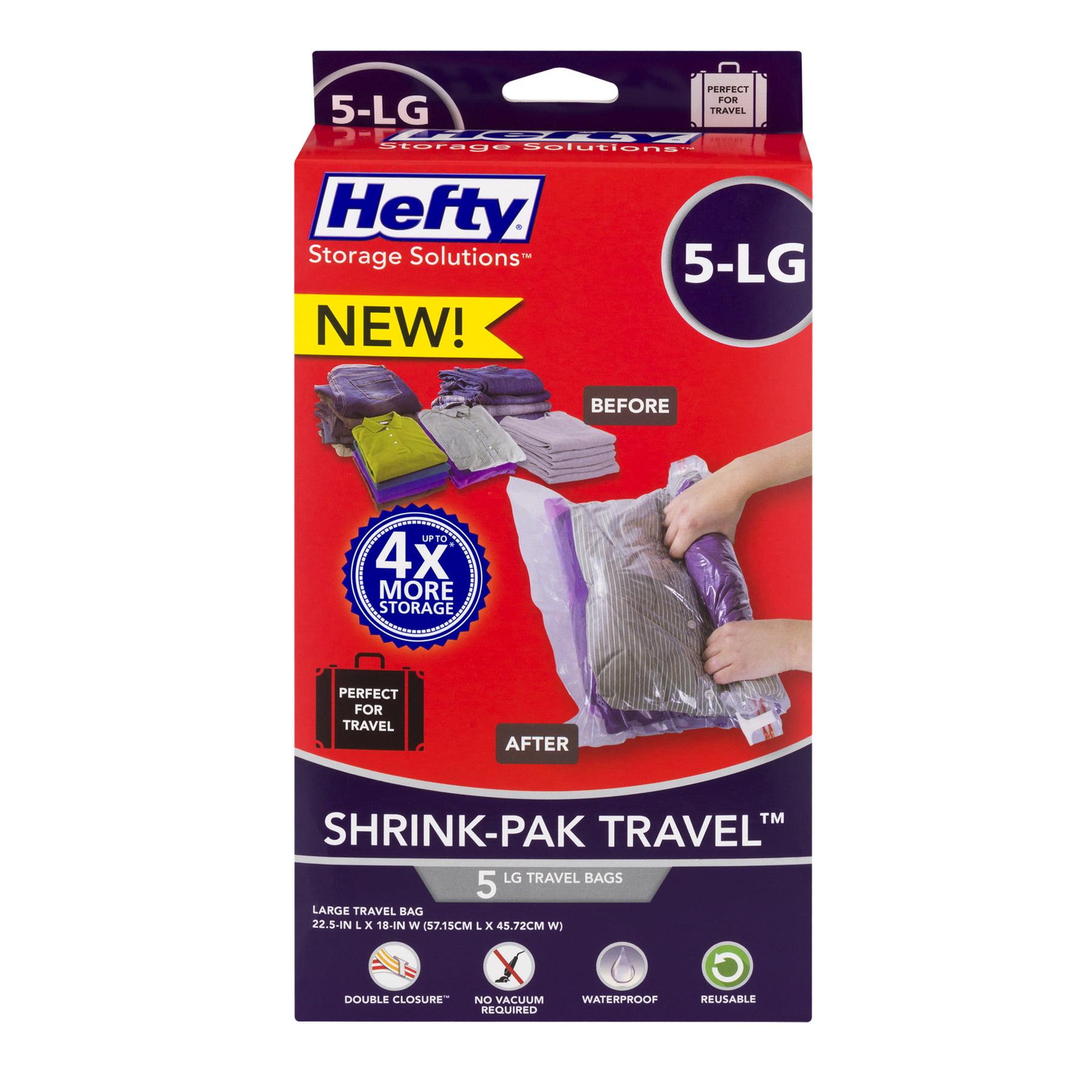 Hefty Storage Solutions Shrink-Pak-Travel Bags Large - 5 CT