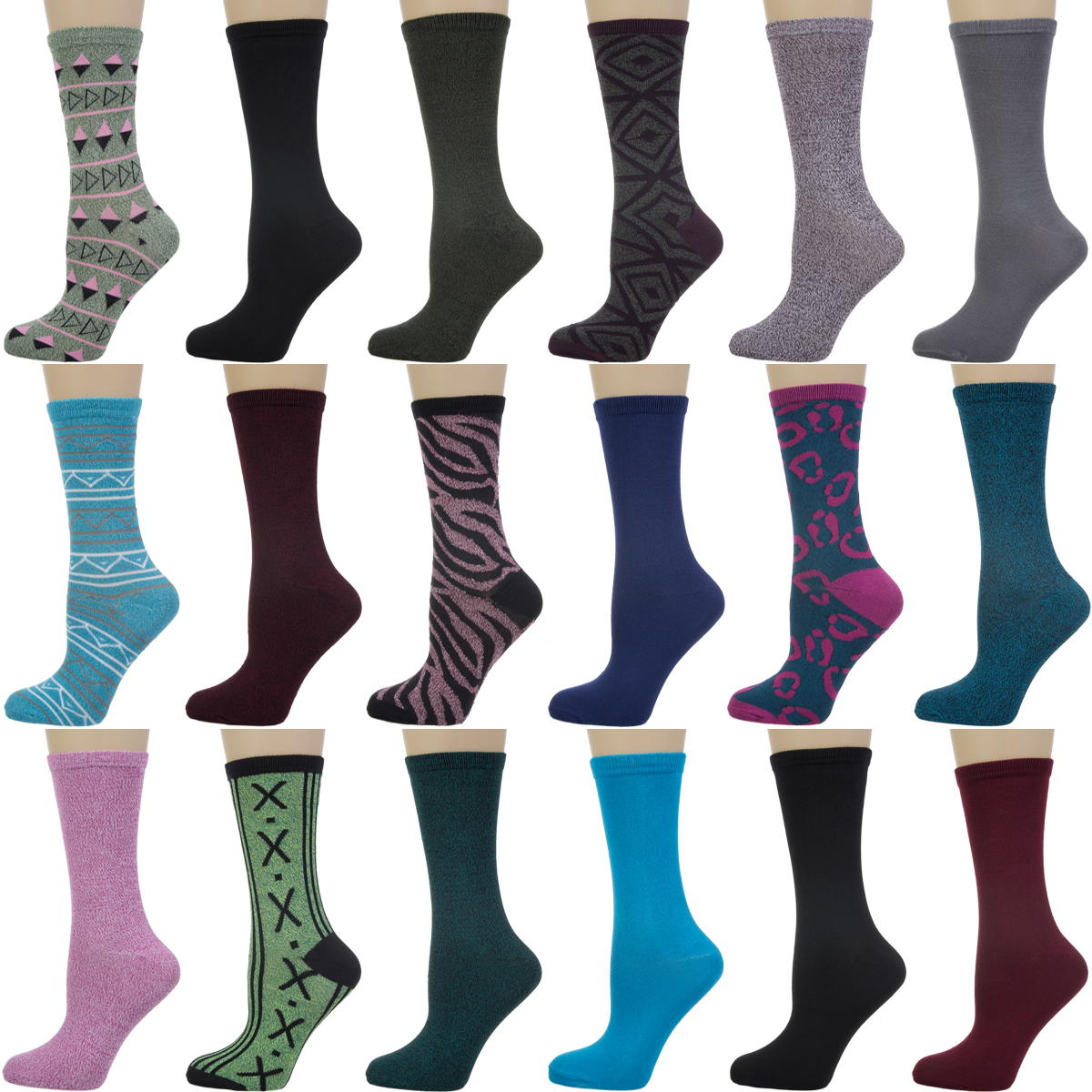 18 Pairs Nicole Miller Women Pattern Print Solid Crew Dress Casual Ladies Socks