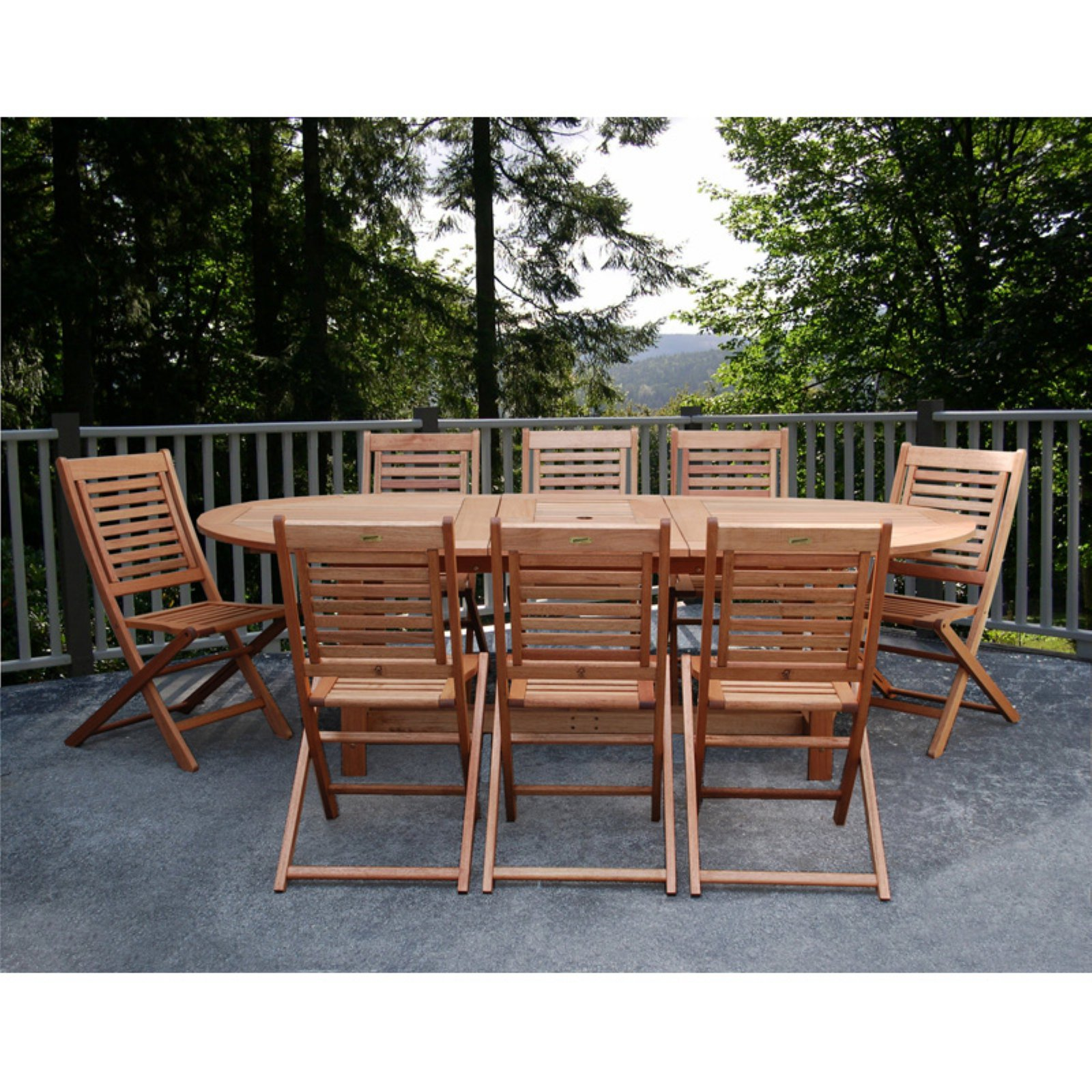 Milano 9-piece Eucalyptus Extendable Patio Dining Set