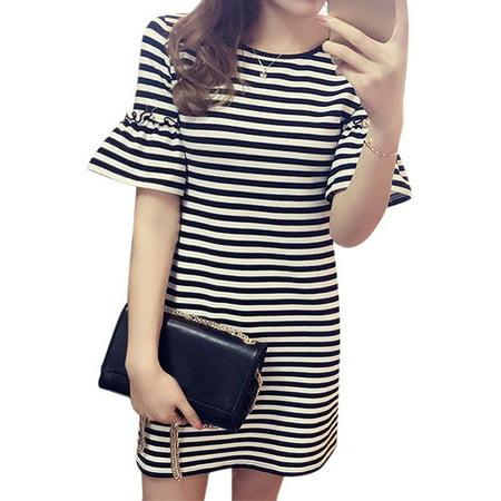 Stripe Jersey Ruffle Dress - Funcee Fashion Plus Size Summer Women Girls Striped Ruffle Sleeve Mini Dress