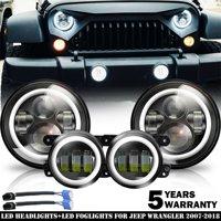 2007-17 For Jeep Wrangler JK Halo LED Headlight + Halo LED Fog Light Combo Kit