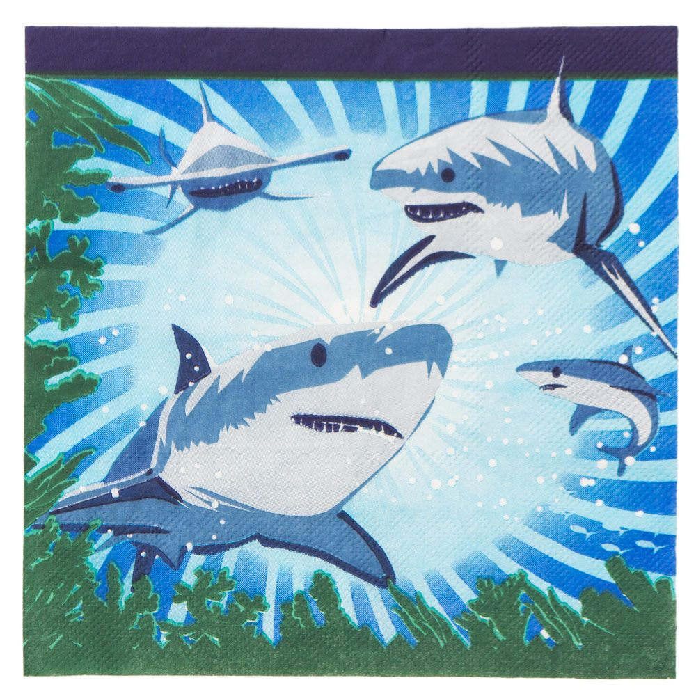 Shark Party Luncheon Napkins Napkin (16 Pack) - Shark Week Party Supplies