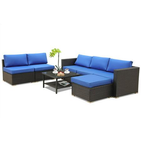 Patio sofa rattan furniture garden wicker couch 7pcs outdoor