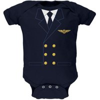 Halloween Airline Airplane Pilot Navy Soft Baby One Piece - 18-24 months