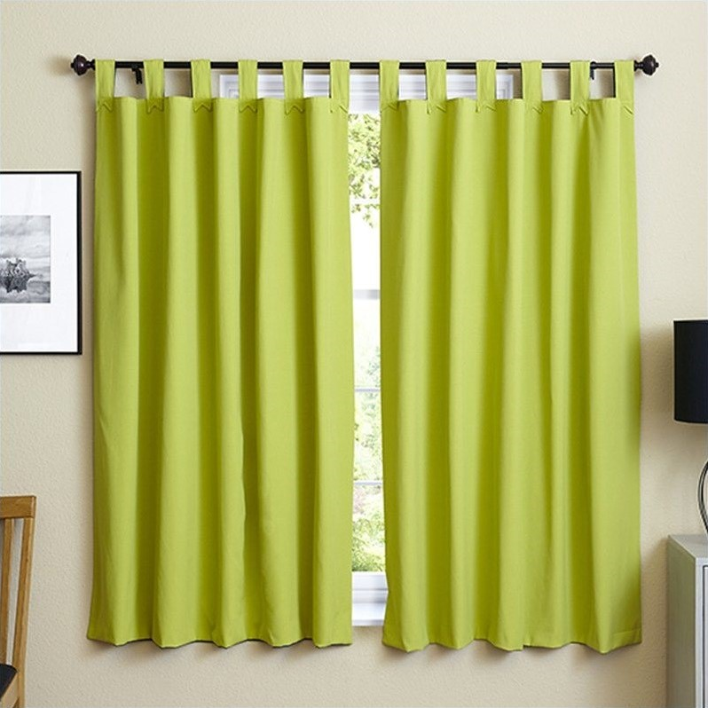 Blazing Needles Twill Curtain Panels in Indigo and Mojito Lime (Set of 2) - image 1 de 4