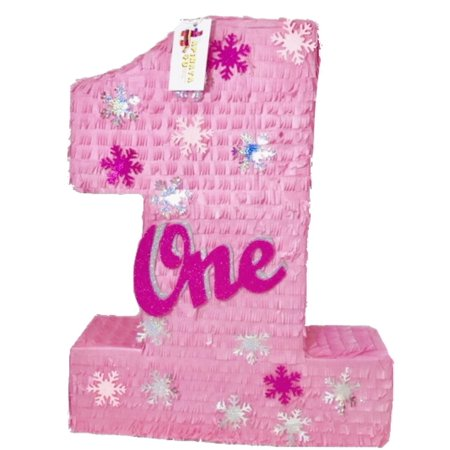 APINATA4U Large Pink Number One Pinata with Snowflakes](Number One Pinata)