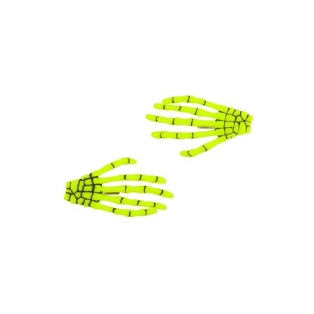 Lux Accessories Yellow Neon Black Scary Skeleton Bone Gripper Fashion Hair Clips