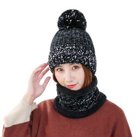 Vbiger Women Thickened Knit Hat and Scarf Winter Beanie with Warm Short Plush Lining, Skiing in Autumn and Winter, Black