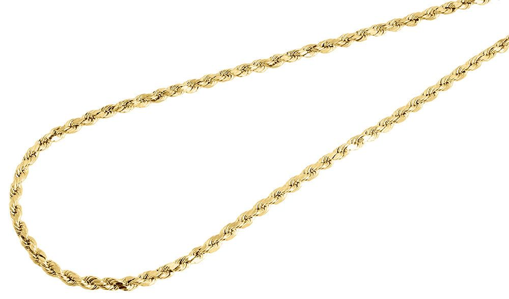 Jawa Jewelers 10k Yellow Gold Mens 2.5MM Hollow Rope Chains,Lobster Clasp
